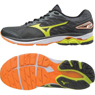 Mizuno Wave Rider 20 Mens Running Shoes - Black/Orange, 11 UK