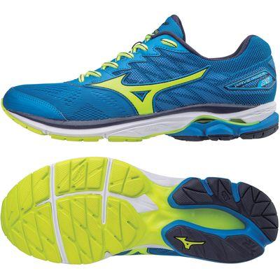 Mizuno Wave Rider 20 Mens Running Shoes - Blue/Yellow, 8.5 UK