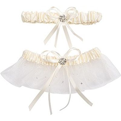 Scattered Crystals Bridal Garter Set with Pearl Accent - White
