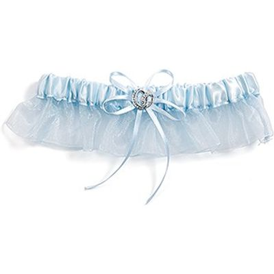 Crystal Blue Bridal Garter Set - Double Rings Charm - Blue