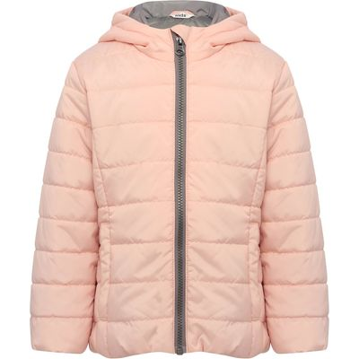 Girls plain light pink long sleeve padded grey contrast zip fastening padded jacket  - Pale Pink
