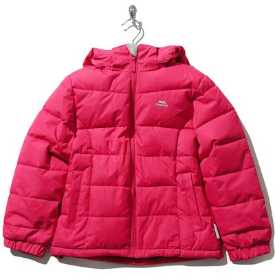 Trespass girls long sleeve stretch cuffs padded zip fastening hooded jacket  - Raspberry
