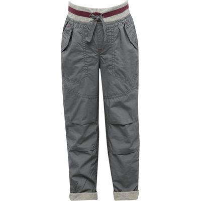 Boys full length cotton lined plain poplin casual trousers with pockets  - Grey