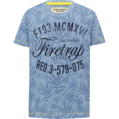 Firetrap boys light blue 100% cotton short sleeve crew neck leaf logo print t-shirt  - Light Blue