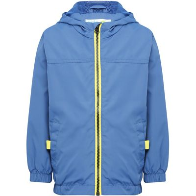Boys blue contrasting exposed zip front pocket lightweight hooded jacket  - Blue