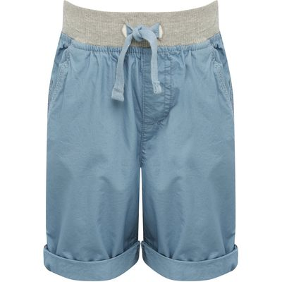 Boys 100% cotton grey marl drawstring elasticated waistpocket detail turn up hem shorts  - Light Blu