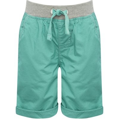 Boys 100% cotton grey marl drawstring elasticated waistpocket detail turn up hem shorts  - Light Gre