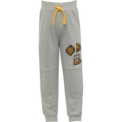 JCB boys character cotton elasticated waist grey marl quilted knee badge jogger trousers  - Grey Mar