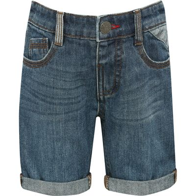 Boys 100% cotton blue adjustable waistband zip fly turn up hem denim shorts  - Mid wash