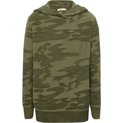 Boys 100% cotton long sleeve khaki camouflage design knitted hooded jumper  - Khaki