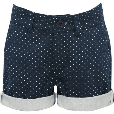 Ben Sherman boys 100% cotton navy spot print turn up zip fly front and back pockets shorts  - Navy