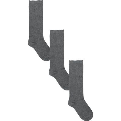Girls cotton rich classic plain basic navy grey white black knee high socks - 3 pack  - Grey