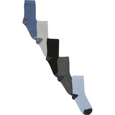Boys Everyday Black Grey And Blue Ankle Sock with striped heel and toe designs - 5 Pack  - Multicolo