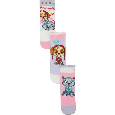 Paw Patrol girls pink Skye and Everest character print cotton blend socks three pack  - Multicolour