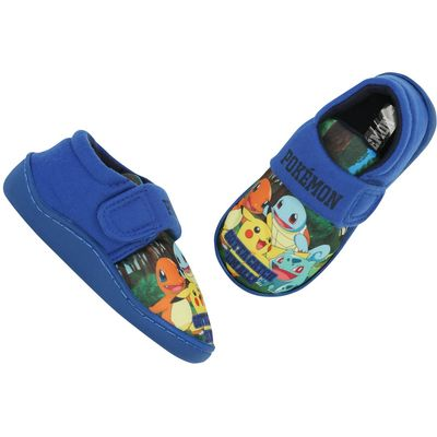 Pokemon boys hoop and loop strap Pikachu charmander squirtle character slipper shoes  - Blue