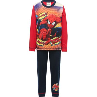 Marvel boys Spiderman character print long sleeve top and navy pull on trousers pyjama set  - Multic