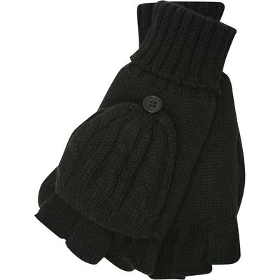 Ladies Two In One Cable Knit Fingerless Glove And Pop Over Mitt  - Black