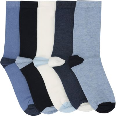 Ladies Cotton Rich Blue Contrasting Heel and Toe Design Ankle Socks 5 Pack  - Multicolour