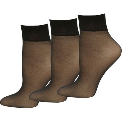 Ladies 10 Denier Classic Gloss Finish Reinforced Toe Ankle Highs Socks- 3 pack  - Black