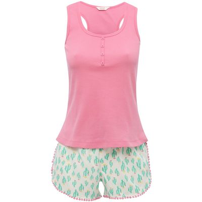 Teen girl cotton rich plain pink vest top and stretch waist cactus print shorts pyjama set  - Multic