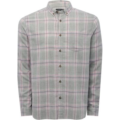 Mens Long Sleeve Soft Touch Cotton Rich Grey Checked Pattern Button Down Chest Pocket Casual Shirt