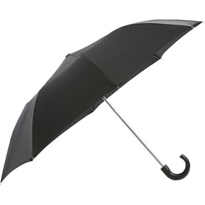 Classic black folding umbrella with crook style handle  - Black