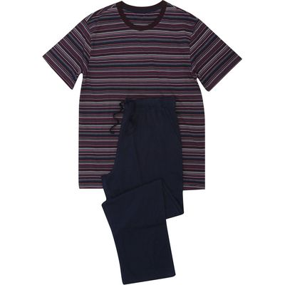 Men's Pyjama Sleep Set T-shirt and Full Length Bottoms 100% Cotton  - Multicolour