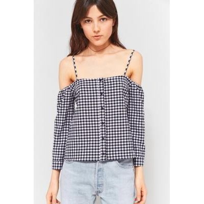 Urban Outfitters Gingham Button Down Cold Shoulder Top, BLUE