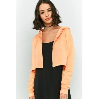 Urban Outfitters Cropped Full Zip Hoodie, PEACH