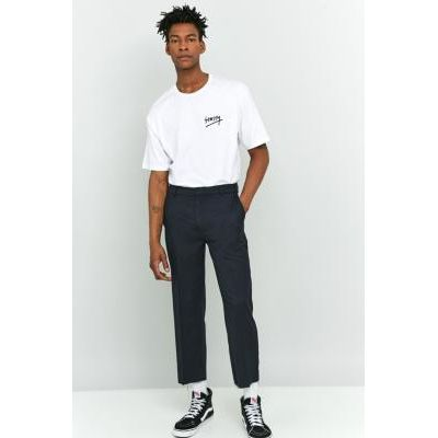Shore Leave Rory Navy Pinstripe Skate Raw Cut Trousers, NAVY