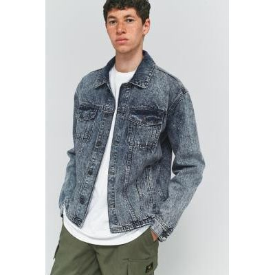 Loom Hooper Acid Wash Raw Hem Denim Jacket, LIGHT BLUE