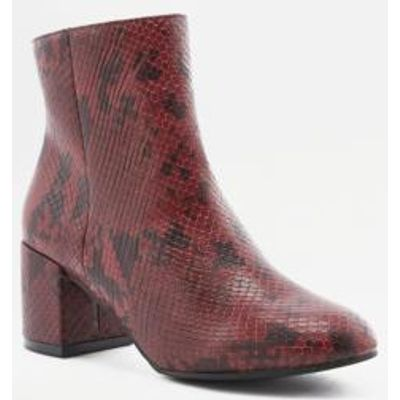 Thelma Faux Python Ankle Boots, RED