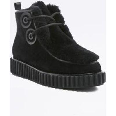 Kat Maconie Rowena Black Suede Creeper Ankle Boots, BLACK