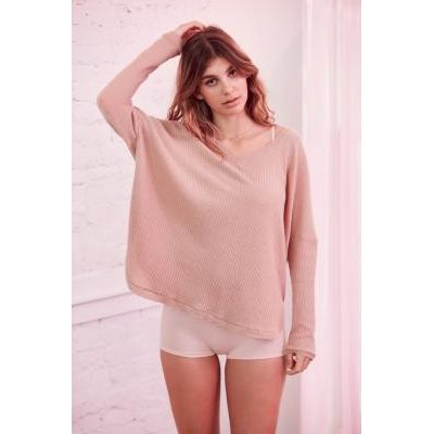 Out From Under Oversized Cosy Thermal V-Neck Top, ROSE