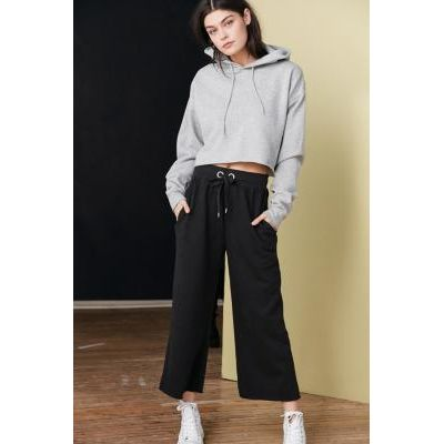 Out From Under Caitlin Cropped Wide-Leg Sweatpants, BLACK