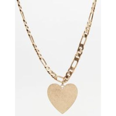Stamped Heart '80s Necklace, GOLD