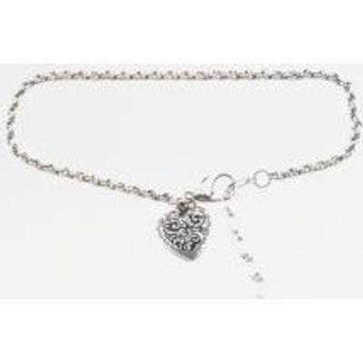 Vintage Heart Charm Bracelet, SILVER