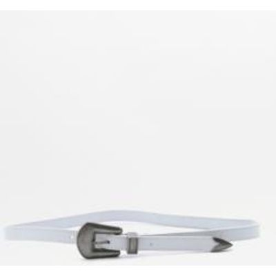 Leather Western Belt, WHITE