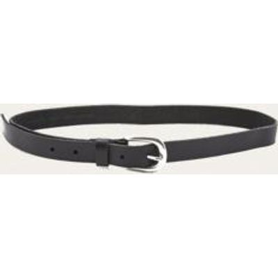 Boyfriend Black Leather Belt, BLACK & WHITE