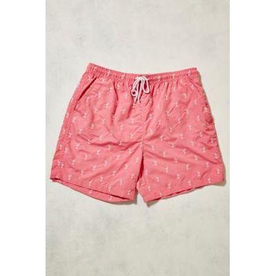 UO Swim Flamingo Embroidery Pink Swim Shorts, PINK