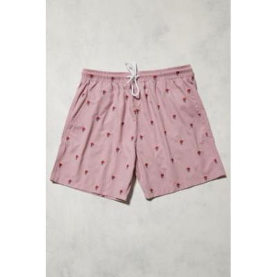 UO Swim Pink Rose Embroidered Swim Shorts, PINK