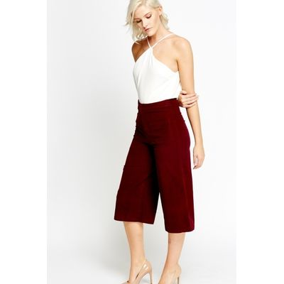 Wide Cord Cropped Trousers