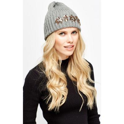 Embroidered Diamante Beanie Hat