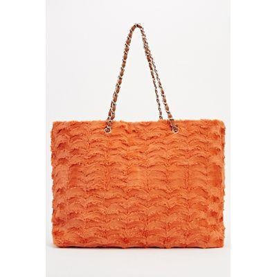 Faux Fur Tote Chained Handbag