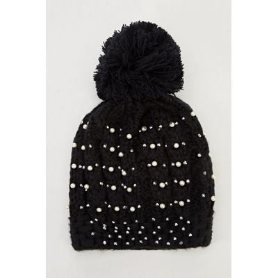 Black Diamante Knitted Pom Beanie Hat
