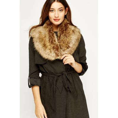 Brown Faux Fur Collar