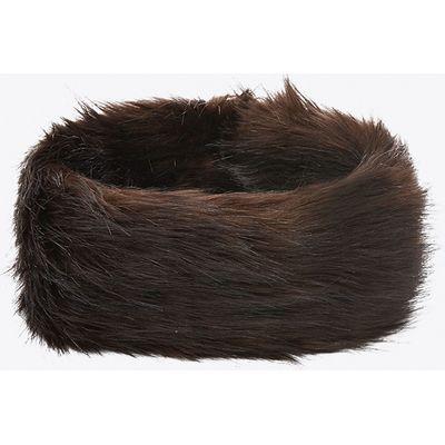 Revello Faux Fox Headband in Chocolate Brown