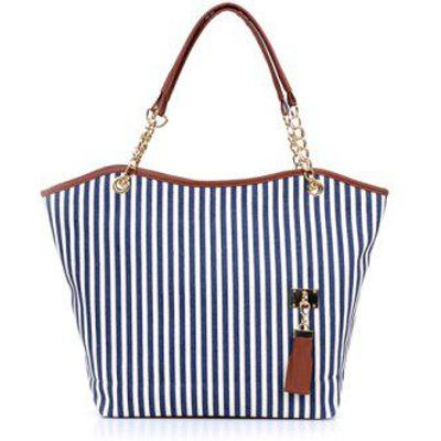 Stylish Striped and Metallic Chains Design Shoulder Bag For Women