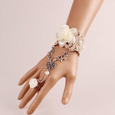 Heart Lace Flower Bracelet with Ring