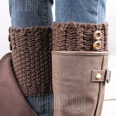 Pair of Chic Button Embellished Crochet Knitted Boot Cuffs For Women